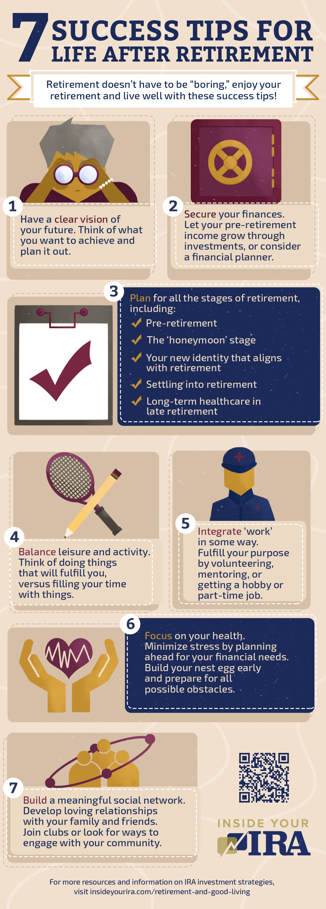 infographic | 7 Success Tips To Post Retirement And Good Living | Inside Your IRA | post retirement plans